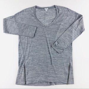 Splendid gray long sleeve with zippers